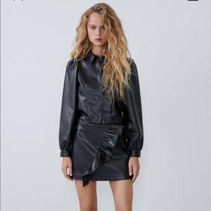 Zara Leather Ruffled Skort